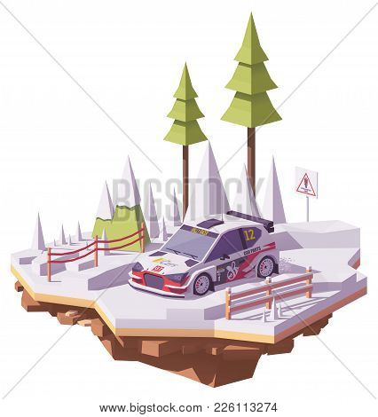 Vector Low Poly Rally Racing Car In White And Red Livery On The Winter Forest Rally Stage