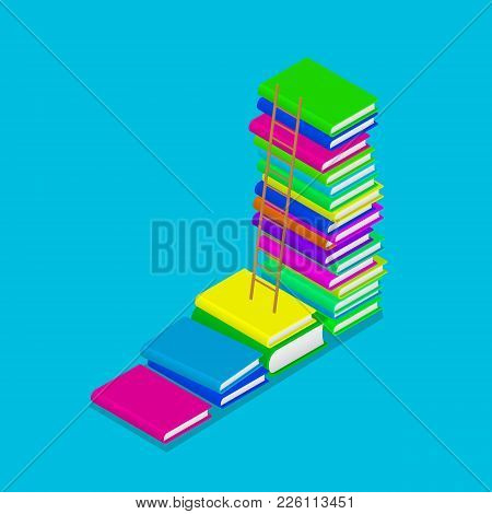 Colorful Isometric Heap Of Book Stairs With Ladder. Education Concept. Vector Illustration