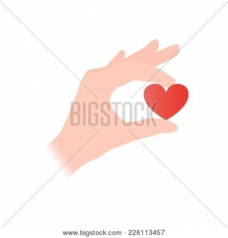 Hand Holding A Small Heart Vector Illustration