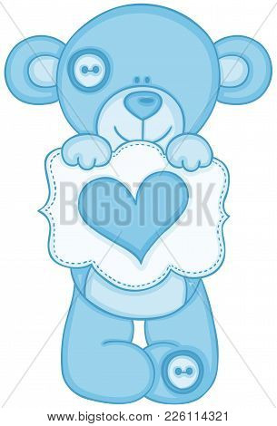 Scalable Vectorial Representing A Blue Teddy Bear Holding Message With Heart, Illustration Isolated