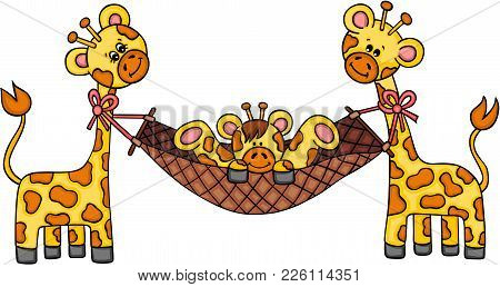 Scalable Vectorial Representing A Couple Giraffes With Son Playing On Hammock, Illustration Isolated