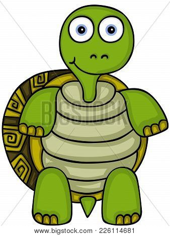 Scalable Vectorial Representing A Cute Turtle Standing, Illustration Isolated On White Background.