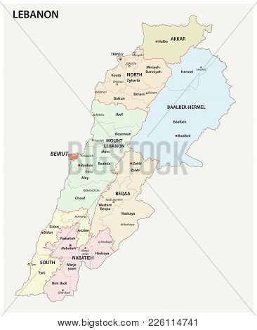 Detailed Lebanon Administrative And Political Vector Map