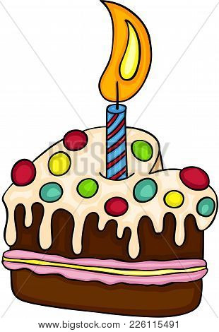 Scalable Vectorial Image Representing A Lovely Happy Birthday Cake, Isolated On White.