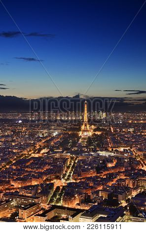 Paris, France - September 14, 2017: Night View Of Paris From Montparnasse Tower.