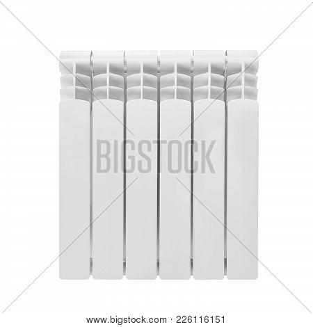 Modern Water Heating White Aluminum Bimetalic Radiator Isolated On White Background