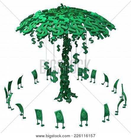 Dollar Money Symbol Cartoon Characters Circling Money Tree, 3d Illustration, Horizontal, Isolated, O