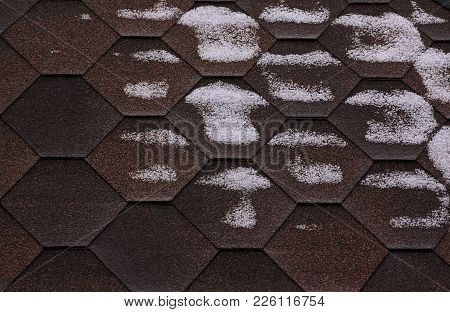 Bitumen Roofing Surface Is Covered With Snow