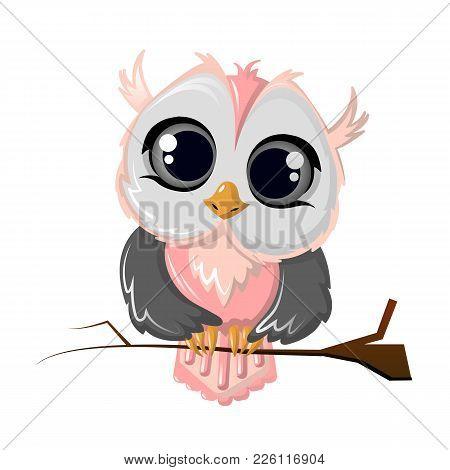 Beautiful Funny Cartoon Owl Bird Sitting On A Tree Branch. Colorful Furry Long-sighted Night Bird, D
