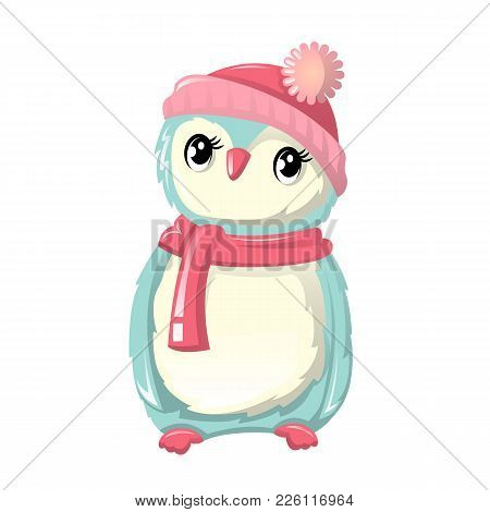 Beautiful Funny Little Penguin In A Hat And With A Scarf. Animal Dwelling On The North Pole, In The