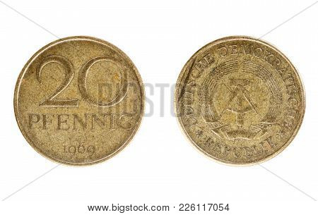 Set Of Commemorative The East German Coin, The Nominal Value Of 20 Pfennig , From 1969. Isolate On W