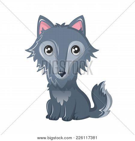 Funny Wild Cartoon Gray Wolf, With A Nice Kind Look. Modern Wild Animals From The Zoo. Wild Inhabita