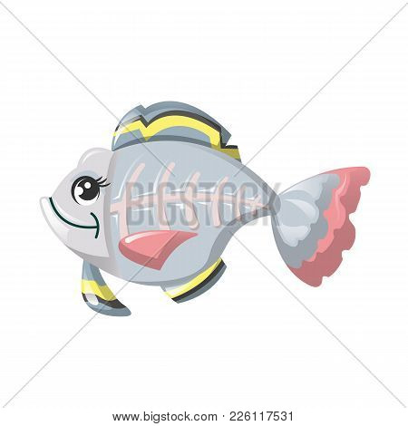 Funny Marine Inhabitant Of Deep Water. Fish X-ray, Cute Animals. Beautiful, Colorful Fish, With A Tr