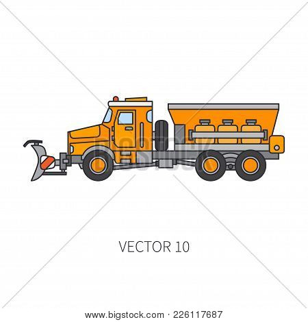 Color Vector Icon Construction Machinery Snowplower Truck Tipper. Industrial Style. Corporate Cargo