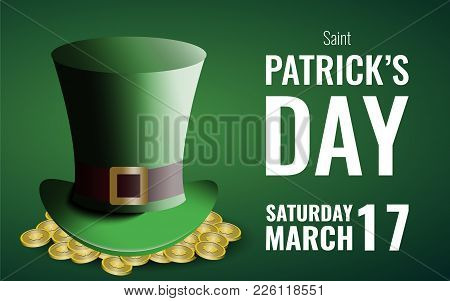 St. Patrick's Day Background With Gold And Leprechaun's Hat