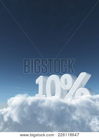 Number Ten And Percent Symbol In The Sky - 3d Rendering