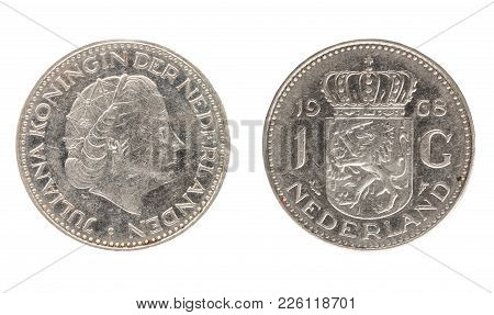 Set Of Commemorative The Netherlands Coin, The Nominal Value Of 1 Gulden , From 1968. Isolate On Whi