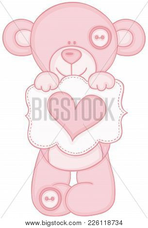 Scalable Vectorial Representing A Pink Teddy Bear Holding Message With Heart, Illustration Isolated