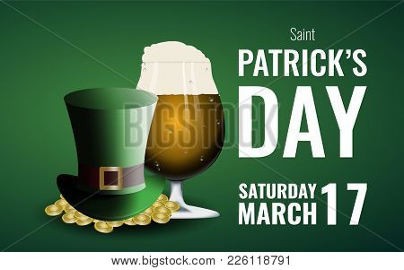 St. Patrick's Day Background With Beer And Leprechaun's Hat