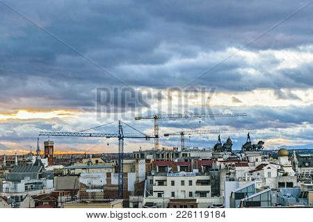 Aerial View Madrid Cityscape