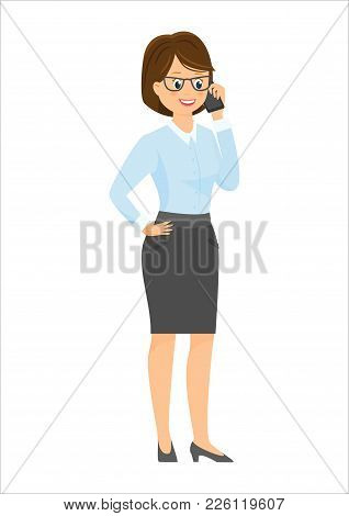 Cartoon Smiling Businesswoman Talking On The Phone.vector Illustration. Isolated On White Background