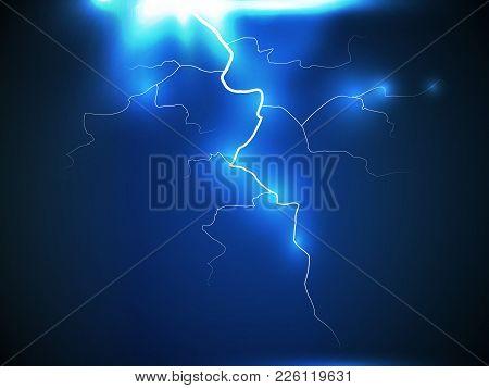 Lightning Flash Bolt Or Thunderbolt On Dark Blue Night Background. Vector Eps10. Electric Light Thun
