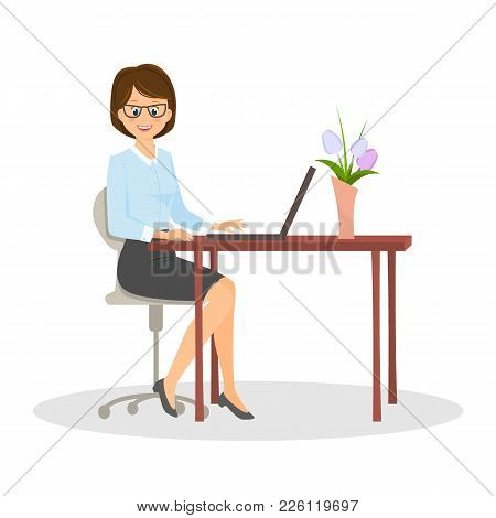 Cartoon Smiling Businesswoman At The Table.vector Illustration. Isolated On White Background