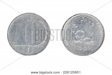 Set Of Commemorative The Czechoslovakia Coin, The Nominal Value Of 10 Haleru, From 1984. Isolate On