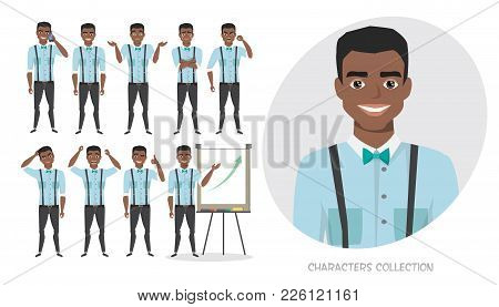 Set Of Emotions And Poses For Black African American Business Man. Male In A Cartoon Style Experienc