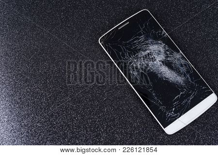 Mobile Smart Phone With Cracked Screen Maintenance, Phone,