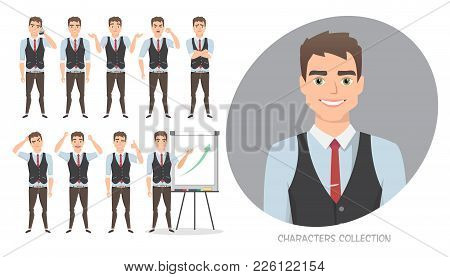 Set Of Emotions And Poses For Business Man. Male In A Cartoon Style Experiences Different Emotions.