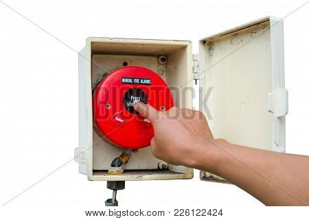 Hand Pressing Fire Alarm To Warn People That There Is A Fire In The Building Isolated On White Backg