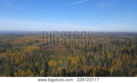 Sunny Day In Autumn Over Razna National Park From Watchtower