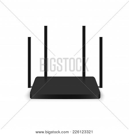 Realistic Black Wireless Router With Antenna. Vector.