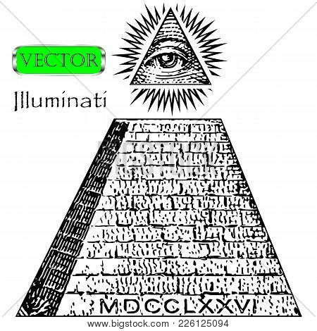 One Dollar, Pyramid. New World Order. Illuminati Symbols Bill, Masonic Sign, All Seeing Eye Vector