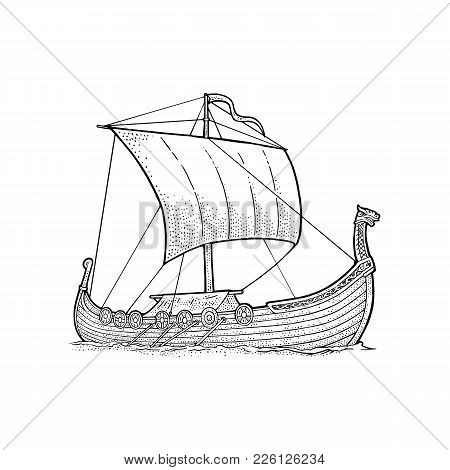 Drakkar Floating On The Sea Waves. Hand Drawn Design Element Sailing Ship. Vintage Vector Black Engr