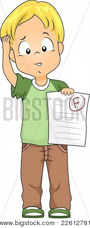 Illustration of a Kid Holding a Test Paper with a Failing Grade