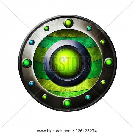 Colored metal button. Button for game interface. Green button