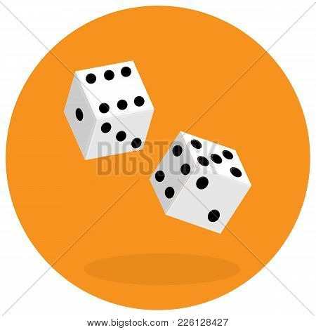 Dice Flat Icon. Two Game Dices. Vector Illustration
