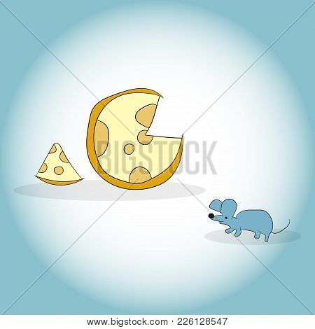 Image Of Mouse And Cheese Head. Vector Illustration. Hand Drawing.