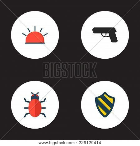 Set Of Procuring Icons Flat Style Symbols With Alarm, Protection, Weapon And Other Icons For Your We