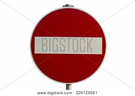 Road Sign For The Wrong Way Isolated On A White Background