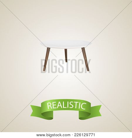 Round Table Realistic Element. Vector Illustration Of Round Table Realistic Isolated On Clean Backgr