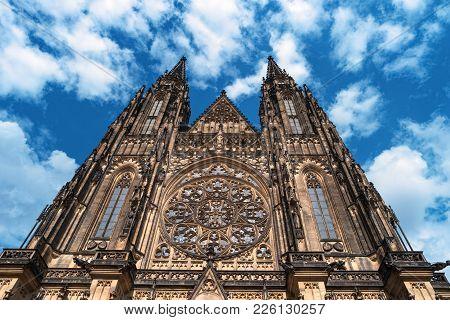 Saint Vitus Cathedral Facade, Prague Castle, Czech Republic. Details Of Gothic Historic European Arc