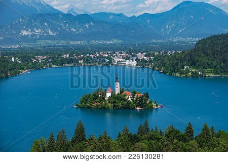 Aerial View Of Lake Bled, Alps, Slovenia, Europe. Mountain Alpine Lake. Island With Church In Lake B