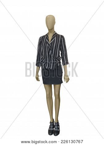 Full-length Female Mannequin Dressed In Casual Clothes, Isolated On White Background. No Brand Names