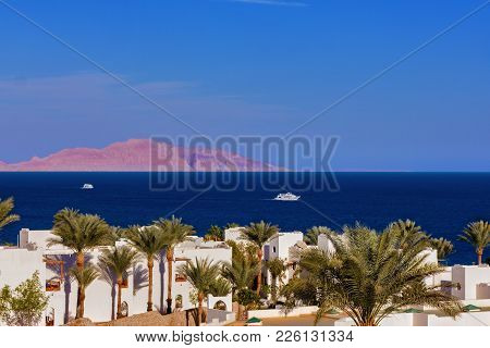 A Beautiful View Of The Sea With Pleasure Boats And Ships