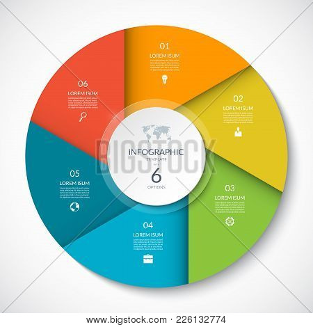 Circle Chart For Infographics. Vector Diagram With 6 Options. Can Be Used For Graph, Presentation, R