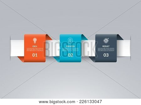 Infographic Timeline Template In The Form Of Colored Paper Tapes. Vector Banner With 3 Options, Step