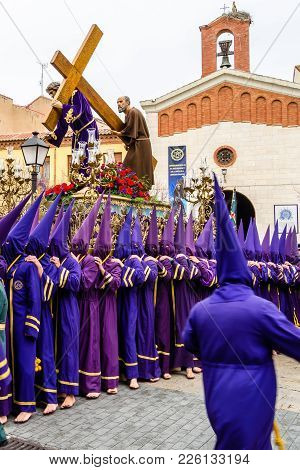 Palencia, Spain - March 25, 2016: Traditional Spanish Holy Week (semana Santa) Procession On Holy Fr